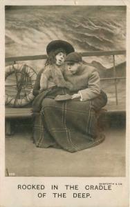 Bamforth C-1910 Seasick Steamship Cross Dressed Humor RPPC real photo 4214