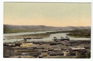 P1939 old postcard panama canal balboa machine shop RR cars harbor etc unused