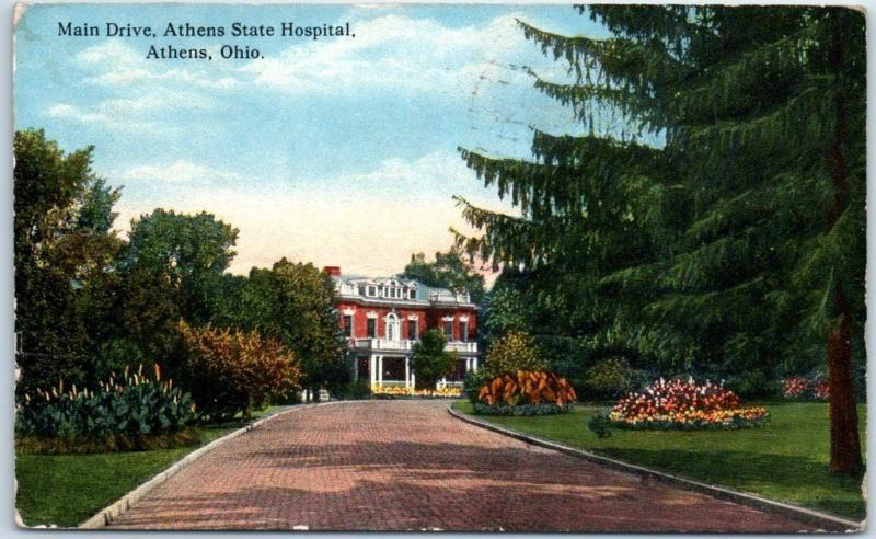 Athens, Ohio Postcard Athens State Hospital Insane Lunatic Asylum 1916 Cancel