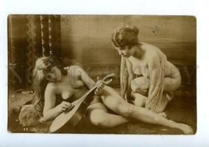 129056 NUDE Woman MUSICIAN Mandolin Vintage REAL PHOTO PC
