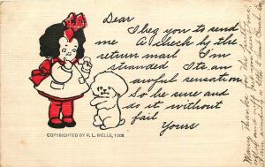 I BEG YOU TO SEND ME A CHECK COMIC POSTCARD c1906 BY R.L. WELLS