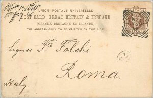 Entier Postal Stationery Postal Britain Great Britain in 1895 Liverpool to Rome