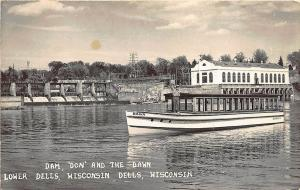Lower Dells WI Dam, 'Don and The Dawn Ferry Boat RPPC Real Photo Postcard