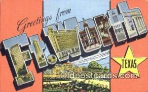 Ft Worth, Texas USA Large Letter Town Vintage Postcard Old Post Card Antique ...