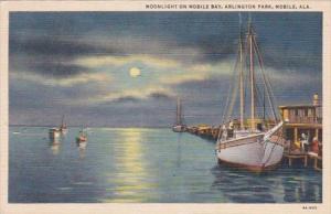 Alabama Mobile Moonlight On Mobile Bay Arlington Park 1942 Curteich