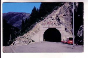 Car with Trailer, Highway China Bar Tunnel, Fraser Canyon, British Columbia, ...