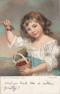 RUSSELL: Portrait of Daughter, Girl in White Dress w/ Basket of Cherries 1906