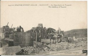 French Ruins from World War I in Soissons Vintage Postcard