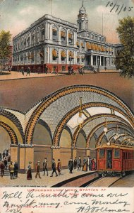 Underground Loop Station at City Hall, New York, Early Postcard, Used in 1905