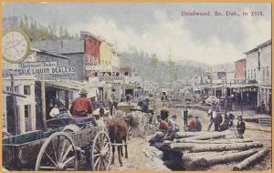 Deadwood, S. Dak., Historical scene of Deadwood in 1876 - 1911