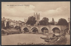 Herefordshire Postcard - Wye Bridge and Cathedral, Hereford   RS11404