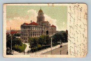 Denver CO, Courthouse, Vintage Colorado c1908 Postcard
