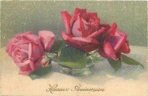 Postcard Greetings flowers  red rose