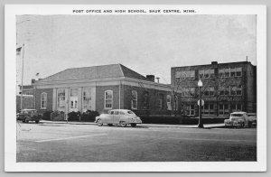 Sauk Centre Minnesota~Nice 1940s Cars by Post Office & High School~B&W Postcard