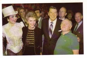 President and Mrs. Reagan with Mickey Rooney and Ann Miller at Sugar Babies, ...