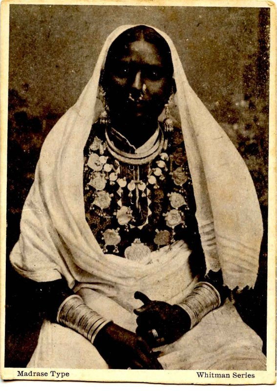 Madrase Type - Woman in ethnic garb.   (card trimmed)
