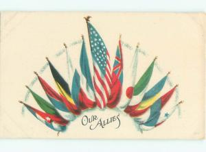 Pre-Linen Patriotic USA AND WWI I FLAGS AC0764