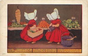 Sunbonnet Twins~Saturday Morn To Market We Go~Baskets~Purse~Ullman Mfg~Series 72