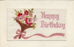 Embroidered, Flower Bouquet,  Happy Birthday, 1900-1910s
