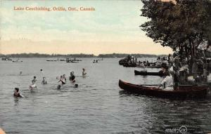 Orillia Ontario Canada Lake Couchiching Canoes Swimming Scene Postcard J79963