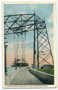 Aerial Bridge Entrance Duluth Superior Harbor Minnesota 1922 postcard