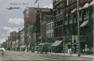Vtg Postcard 1910 York PA Pennsylvania East Market Street View Lots of Signs