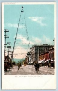 Postcard CA San Jose Santa Clara Street Electric Light Tower c1906 View Q13