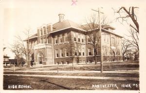 Manchester Iowa~High School~Homes Nearby~c1914 Real Photo Postcard~RPPC