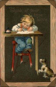 VALENTINE Boy Writes Letter While Dog Looks On CHALKBOARD BORDER c1910