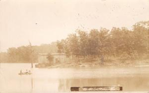 Mt Mount Olive Illinois~Old Reservoir~Cabin on Point~Family Rowboat~1908 RPPC