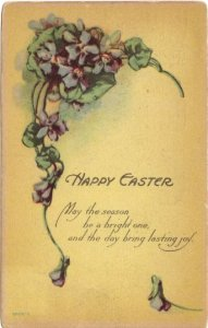 Purple Violets with Poetic Verse Easter Greeting Vintage Postcard