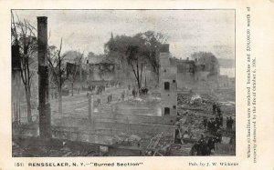 LP77  Rensselaer New York NY Postcard Burned Section  1906 Fire