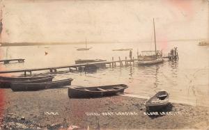 Clear Lake IA Rowboats One Shore & At Ideal Dock~Sailboat Phyllis RPPC c1914
