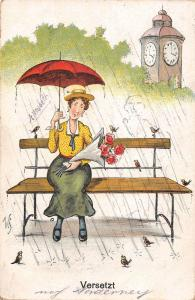 US2493 Versetzt, Woman with Umbrella sitting on a Bench, Rainy Day germany comic