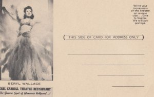 Beryl Wallace , Earl Carrol Theatre-Restaurant , Hollywood , California , 1940s