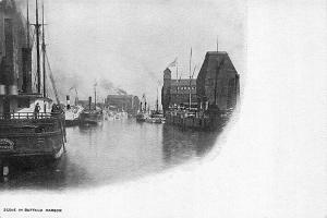 Buffalo NY  Scene in Buffalo Harbor Boats Postcard