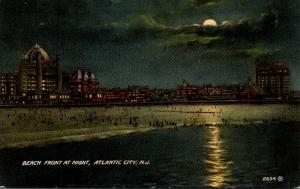 New Jersey Atlantic City Beach Front At Night