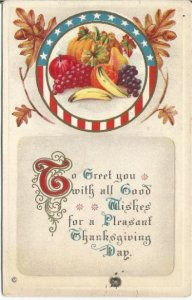 Old Postcard, Bountiful Harvest framed by Circle of Stars and Stripes with Oak