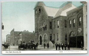 Danville Illinois~City Hall~Engine House~Horse Drawn Fire Wagon~1909 CU Williams