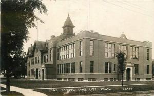 1929 High School Lake City Minnesota RPPC Photo Postcard 12826
