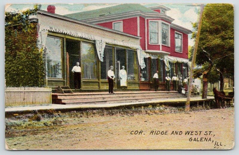 Galena Illinois~Mountain House~Stores~605 Ridge Street~Merchants on Stoop~1909