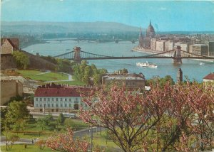 Hungary Budapest bridges view ship sailing Postcard