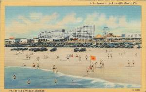 Jacksonville Beach Florida~Roller Coaster & Ferris Wheel~Bath House 1939