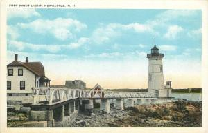 Newcastle New Hampshire~Fort Point Light~Bridge to House~1920s Postcard