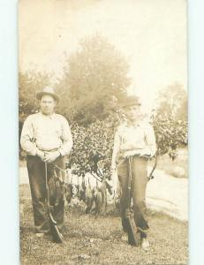 rppc Pre-1918 Hunting HUNTER MEN WITH RIFLE GUNS HOLD UP DEAD RABBITS AC7644@
