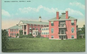 Beverly Michigan~City Hospital~Long Sunroom~Folk Sit on Balcony Deck~c1912 PC
