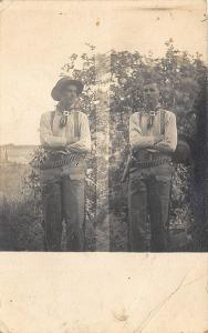 Saint Albans ME Two Views Cowboy Gunman Holster Six Shooter RPPC Postcard