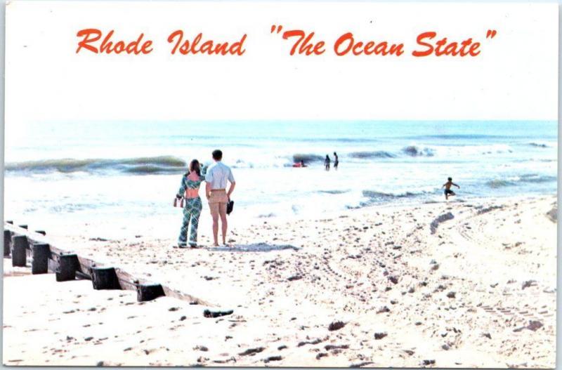 c1960s Rhode Island Postcard The Ocean State Bathing Beach Scene Chrome Unused