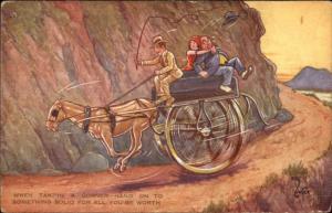Reg Carter Carriage Horse Wagon Crazy Driver Scared Couple c1920s Postcard