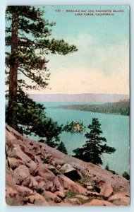 LAKE TAHOE, CA California  FANETTE ISLAND & Emerald Bay c1910s Postcard